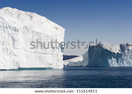 Travel along the Western coast of Greenland. Icebergs and glaciers. Deep pure waters.