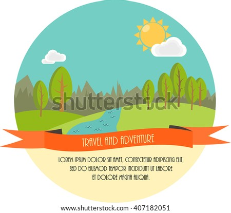 Travel and adventure. Beautiful minimal flat illustration. Landscape with trees, river, clouds and the Sun.  - stock photo