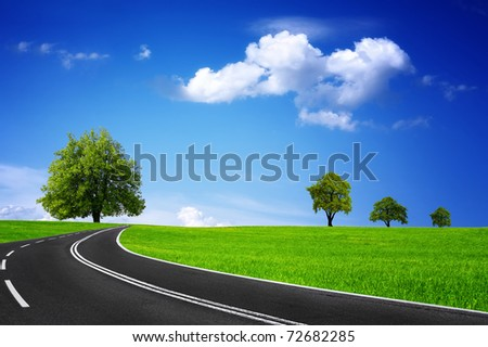 Travel and green landscape - stock photo