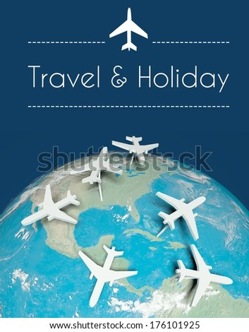 Travel and holiday concept: airplanes on globe - stock photo