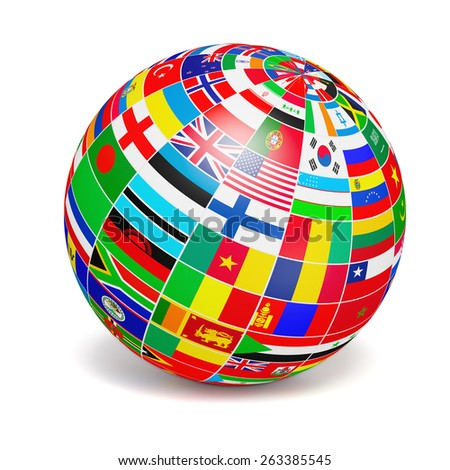 Travel and international business concept - 3d  globe sphere with  flags of the world on white background - stock photo