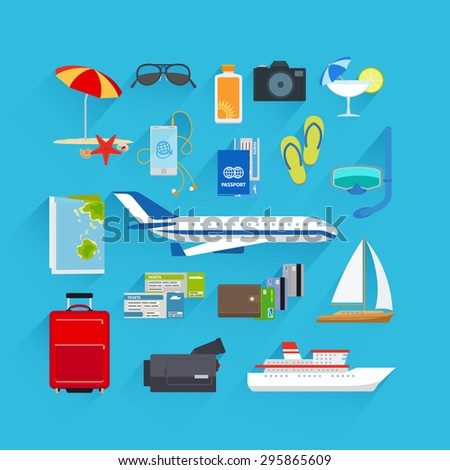 Travel and summer vacation, tourism and journey flat icons - stock photo