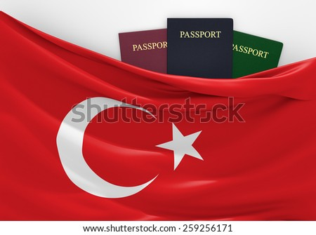 Travel and tourism in Turkey, with assorted passports - stock photo