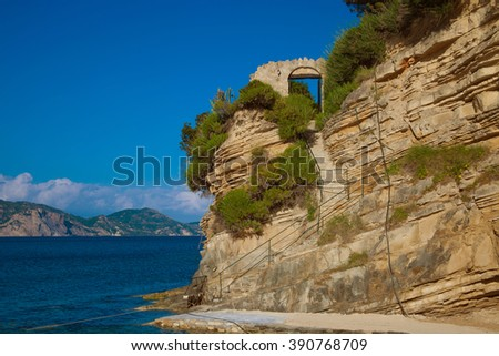 Travel and touristic concept - Blue caves on Zakynthos island, Greece - stock photo