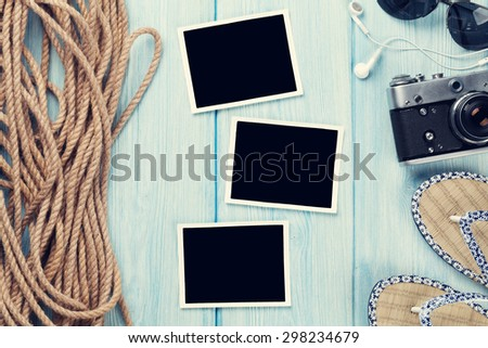 Travel and vacation photo frames and items. Top view. Toned - stock photo