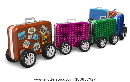 Travel around the world and tourism concept: train from color travel cases with label tags and car wheels isolated on white background