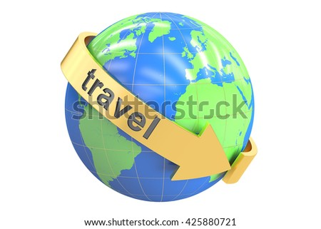 Travel Around the World concept, 3D rendering isolated on white background
