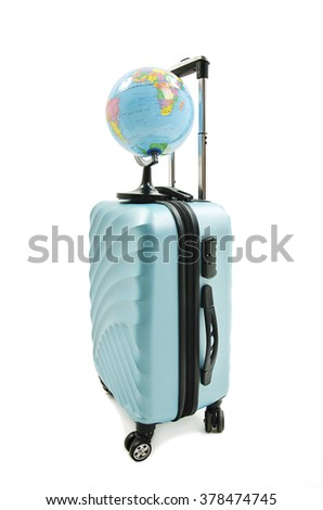 Travel around the world, journey, voyage and vacation concept, blue vintage suitcase and Earth globe. Isolated on white background.   - stock photo