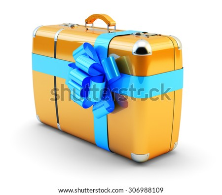 Travel as a gift, journey offer and wedding tour concept, suitcase with blue ribbon bow isolated on white background - stock photo