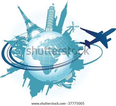 Travel background. Raster version of vector illustration. - stock photo