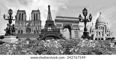Travel background. Symbols of Paris: Eiffel Tower, Cathedral of Notre Dame de Paris, Sacre Coeur Basilica, Arc de Triomphe, Street lamps of Alexandre III bridge - stock photo