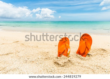 travel background with a pair of orange flip-flops in the sand of a beautiful beach, Mauritius, Africa - stock photo