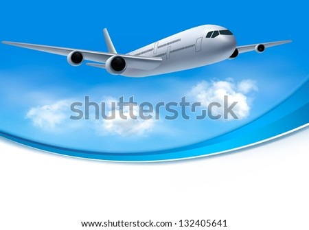Travel background with airplane and white clouds. Raster version of vector - stock photo