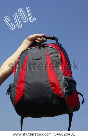 Travel background with cool backpack