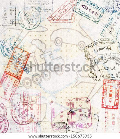 Travel background with different passport stamps and four types of transport