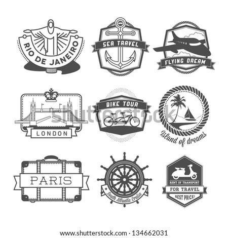 Travel badges set - stock photo