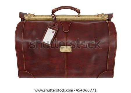 Travel bag leather vintage style, top view. 3D graphic
