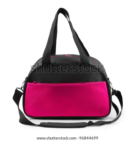 Travel bag on a white background. Isolated path included. - stock photo