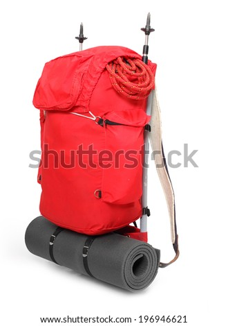Travel bag with mountaineering equipment. - stock photo