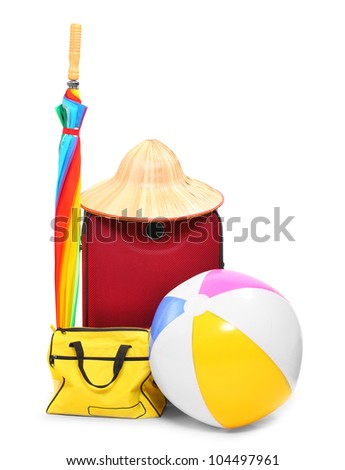 Travel bags and umbrella - isolated on white background. - stock photo