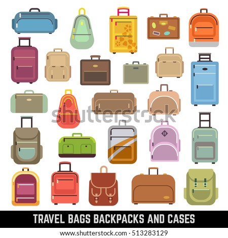 Travel bags backpacks and cases color icons. Bag and case for travel, set of icon luggage and bags. illustration