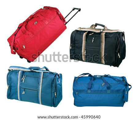 Travel bags collection, isolated on white background - stock photo