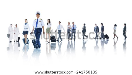 Travel Business People Cabin Crew Trip Flight Concept - stock photo