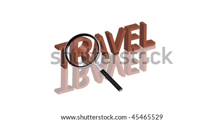 travel button Magnifying glass enlarging part of red 3D word with reflection - stock photo