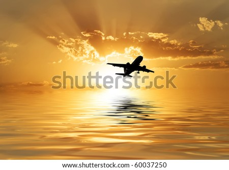 travel by plane - stock photo
