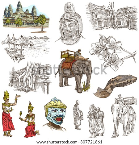 Travel, CAMBODIA - Collection of an hand drawn illustrations. Description: Full sized hand drawn illustrations (freehand sketches). Drawing on white background. - stock photo