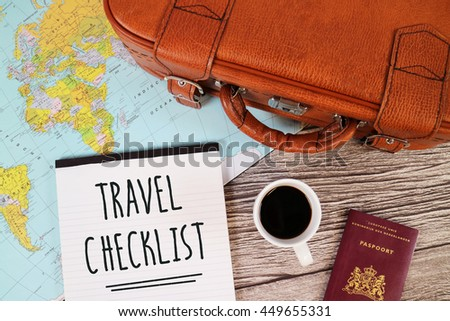 Travel checklist suitcase world map stock photo download now travel checklist suitcase world map gumiabroncs Image collections