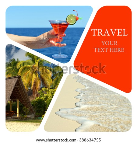 Travel collage. Luxury spa resort. Wave of the sea on the sand beach. - stock photo