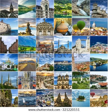 Travel collage. Norway, Portugal, Madeira, Greece, Turkey, Germany, Montenegro, Ukraine, Crimea. European landmarks  - stock photo