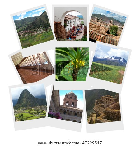 Travel Collage with 9 photographs of Machu Picchu, Cusco, Urubamba and other tourist destinations in Peru arranged as if stacked on a table