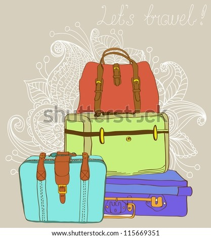 Travel color Suitcases Background, illustration - stock photo