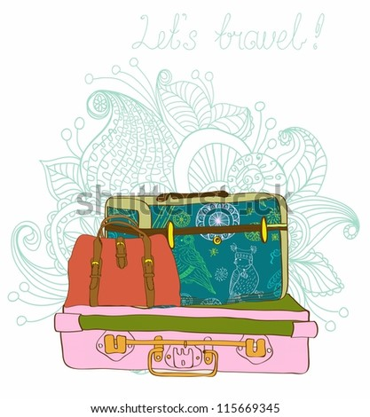 Travel color Suitcases with funny pattern Background, illustration - stock photo