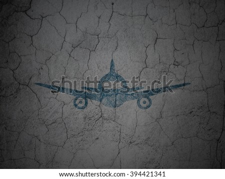 Travel concept: Aircraft on grunge wall background - stock photo