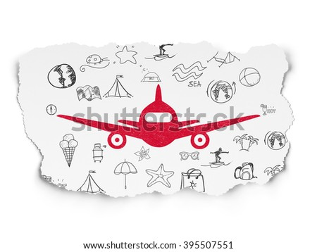 Travel concept: Aircraft on Torn Paper background - stock photo