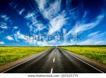 Travel concept background - road in blooming spring meadow - stock photo