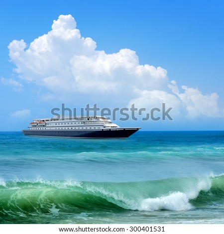 Travel concept. Beach and ship  - stock photo