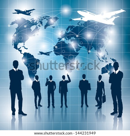 Travel concept. Business virtual background with blends