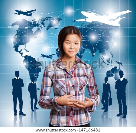 Travel concept. Businesswoman with virtual background