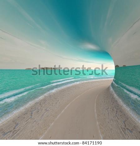 Travel concept. 3d render landscape - stock photo