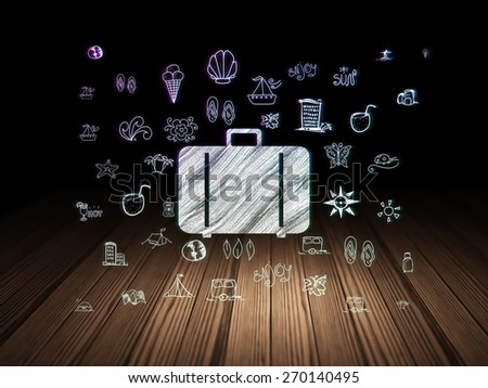 Travel concept: Glowing Bag icon in grunge dark room with Wooden Floor, black background with  Hand Drawn Vacation Icons, 3d render - stock photo