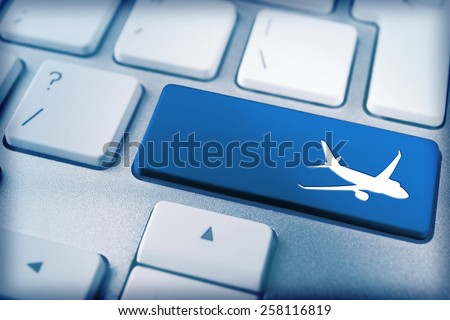 Travel concept. Keyboard of modern laptop close up - stock photo