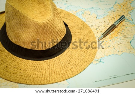 travel concept, Map and hats of USA - stock photo