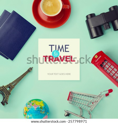 Travel concept mock up design. Objects related to travel and tourism around blank paper with retro filter effect. View from above  - stock photo