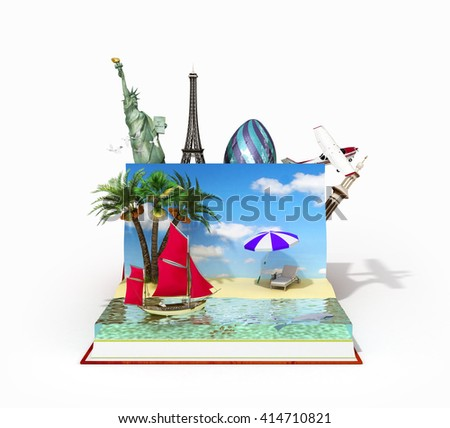 travel concept, open book with beach on her and other recreation between pages 3d render - stock photo
