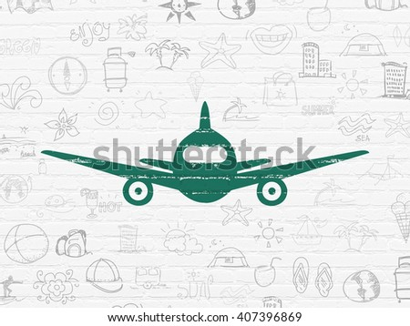 Travel concept: Painted green Aircraft icon on White Brick wall background with  Hand Drawn Vacation Icons - stock photo