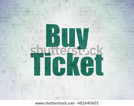 Travel concept: Painted green word Buy Ticket on Digital Data Paper background